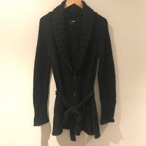 H&M black cardigan with tie waist